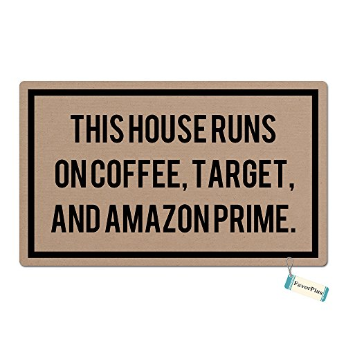 FavorPlus This House Runs ON Coffee, Target Funny Entrance Custom Doormat Door Mat Machine Washable Rug Non Slip Mats Bathroom Kitchen Decor Area Rug 15.7X23.6 Inch ()