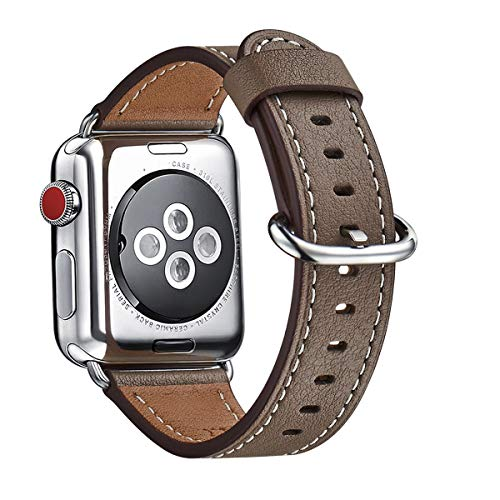 WFEAGL Compatible iWatch Band 38mm 40mm 42mm 44mm, Top Grain Leather Bands of Many Colors for iWatch Series 4/3/2/1 (Coffee Band+Silver Adapter, 38mm 40mm)