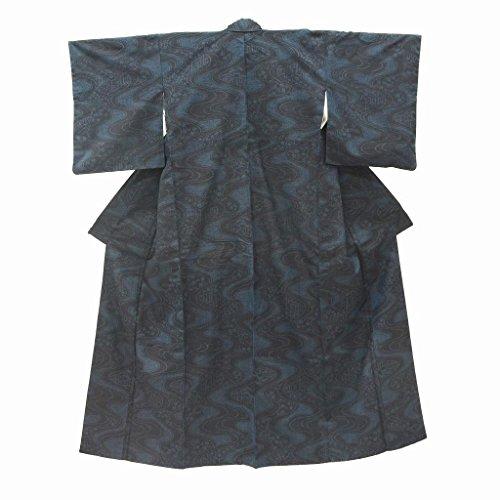 (着物ひととき) リサイクル 真綿紬 中古 正絹 つむぎ 流水文様 裄62.5cm 紺系 裄Sサイズ 身丈Mサイズ ll1366a10