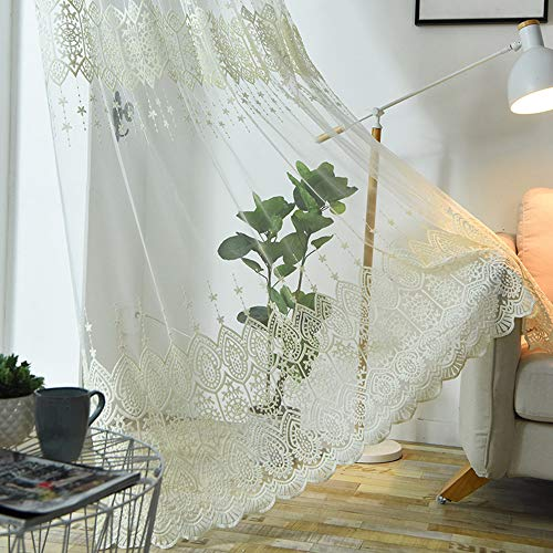 (AliFish European Embroidered Sheer Tulle Curtains Elegant Lace Curtain Rod Pocket Top Window Treatment Home Decor Shiny Transparent Gauze Voile Curtains for Living Room 1 Piece/Panel W114 x L84 inch)