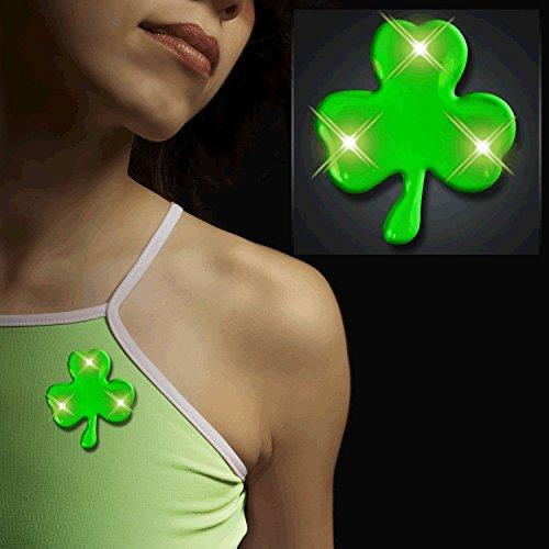 blinkee Jade Shamrock Flashing Body Light Lapel Pins (Green Shamrock Flashing Pin)