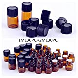 Elufly 1ml 30pc + 2ml 30pc Empty Amber Glass Bottles 60pack