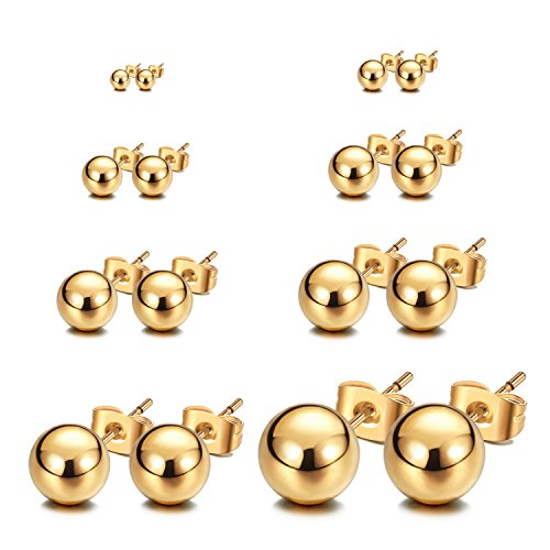 JewelrieShop Stud Earrings Ball Shiny Earrings Set Unisex (8pairs/set – size 2mm / 3mm / 4mm/ 5mm / 6mm / 7mm / 8mm / 10mm) (02. Gold Color)