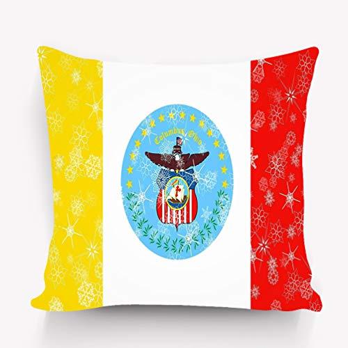 zexuandiy Decorative Cotton Velvet Vintage Home Throw Pillow Case Cushion Cover 18X18 Columbus Ohio Winter Snowflakes Flag Background -