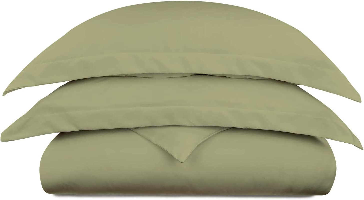 Cosy House Collection Luxury Bamboo Duvet Cover Set 3-Piece - Ultra Soft Hypoallergenic Bedding - Zippered Comforter Protector, Includes 2 Pillow Shams - Full/Queen - Sage Green