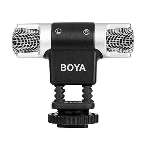 BOYA BY-MM3 Mini Condenser Stereo Shotgun Microphone with Left and Right Channel for iPhone 8 8 plus 7 7 plus iPad Air Laptop Windows DSLR Camera Camcorders Podcast Micro Film
