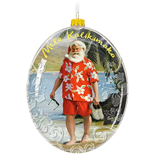 Hallmark Keepsake 2017 Mele Kalikimaka Hawaii Santa on the Beach Christmas Ornament (Hawaii Glass)