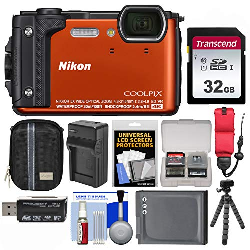 Nikon Coolpix W300 4K Wi-Fi Shock & Waterproof Digital Camera (Orange) with 32GB Card + Case + Battery & Charger + Flex Tripod + Float Strap + Kit ()