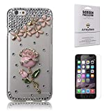 iPhone 6 Rhinestone Case Pink, Armybee(TM) Bling iPhone 6[4.7] Case Crystal Rhinestone Pink Rose Diamond Cover Skin For Girls (Fits: Apple iPhone 6 [4.7] only, Package Included: 1 HD Screen Protector Film) (Pink)