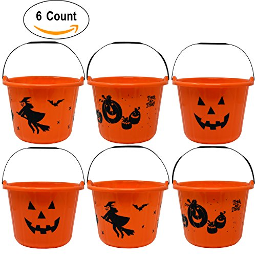 Treats Halloween Pail (6 Pack Halloween Candy Bucket 9