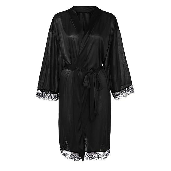 Quelife Women Transparen Lace Bathrobe Long Silk Sleepwear Belt Babydoll Bath Robe Nightwear
