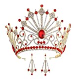 Wiipu Luxury Bridal Wedding Rhinestone Crystal Tall Crown Oversize Headbands Tiaras(A1233) (Red)