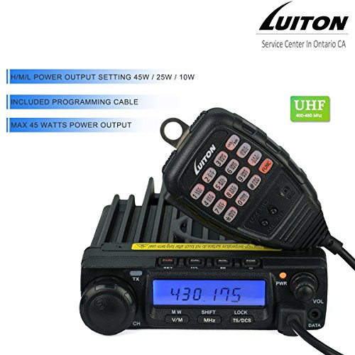 LUITON LT-590 UHF 45W/25W/10W Two-Way Radio Mobile Transceiver Amateur Ham Radio with Free Programming Cable