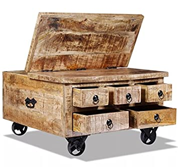 Handmade Coffee Table Vintage Industrial Furniture Rustic Solid Mango Wood  Large Chunky Square 5 Drawers Storage