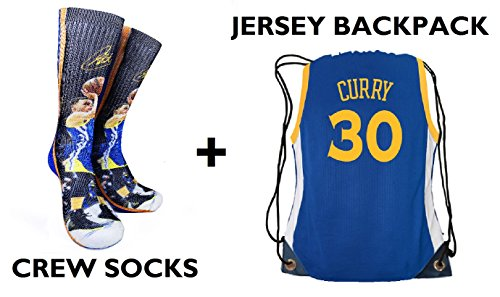 Forever Fanatics Golden State Curry #30 Ultimate Basketball Fan Gift Set Bundle ✓ Curry #30 Crew Socks Sizes 6-13 ✓ Matching Curry #30 Jersey Drawstring Backpack (Size 6-13, Curry #30 (Basketball Fan)