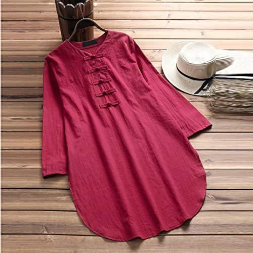 Chemisier Vin Innerternet Coton Shirt BohMe Femme Taille Rouge Blouse T Manches Grande en Longues rqqwpX7