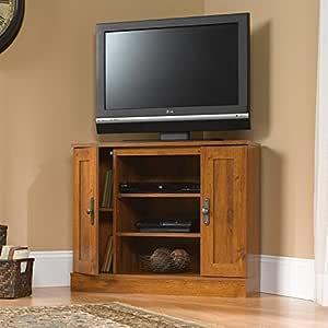 Mueble esquinero de madera para televisor con centro de entretenimiento, estantes ajustables, armario de almacenamiento, diseño de ahorro de espacio, práctico, apto para pequeños apartamentos, sala de estar, dormitorio, color roble +