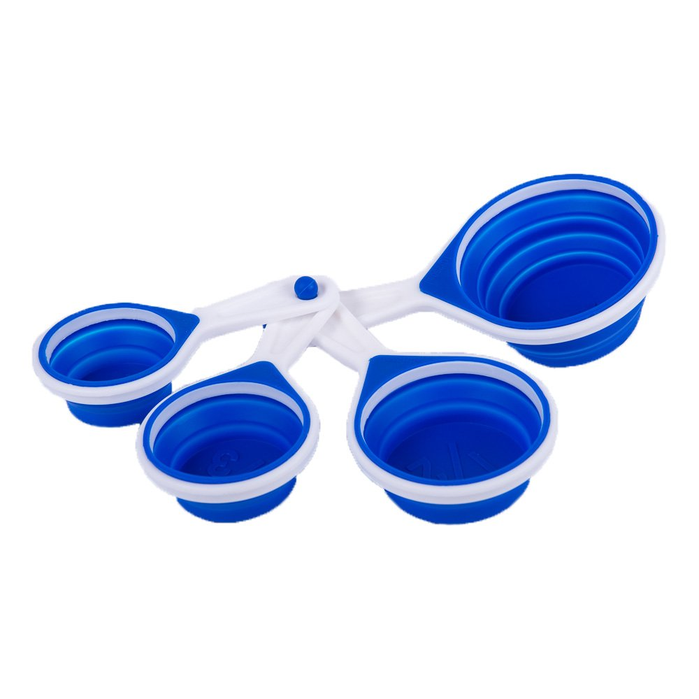 Collapsible Silicone Measuring Cups Set | Modern Blue & White Design | 1/4, 1/3, 1/2, and 1 Cup | Easy Storage | Lightweight Design | Dishwasher Safe | Great Gift Idea Clever Chef COMINHKPR81996