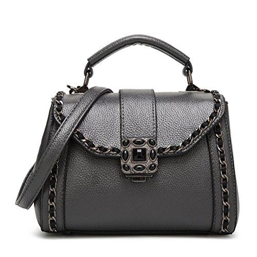 Negro de FuweiEncore Un de Gris Bolso Color hombro las tamaño de tamaño cadena pequeño cuero Elegante de de la vendimia mujeres hombro bolso de rOrp5nH1q