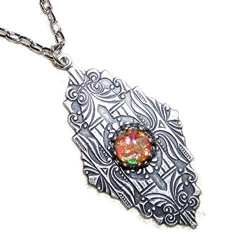 Art Deco Glass Czech (ART DECO Necklace CZECH Glass FIRE OPAL Silver Plt Pendant)