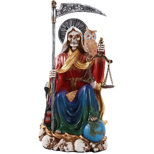 Pacific Giftware Santa Muerte Saint of Holy Death Seated Religious Statue 9 Inch Seven Powers (Rainbow) by Pacific Giftware