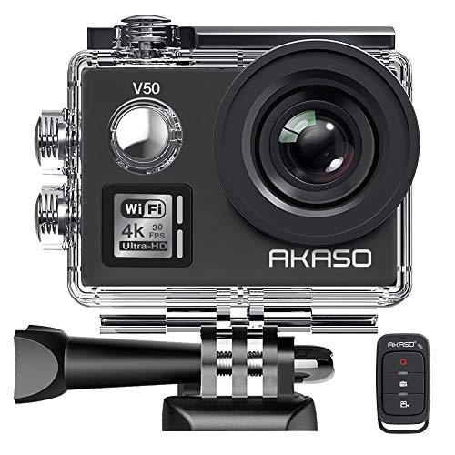 [UPGRADED] AKASO V50 Native 4K/30fps 20MP WiFi Action Camera with EIS, 40m Waterproof Camera with Remote Control, 170 Degree Wide Angle, 2 Rechargeable Batteries and Mounting Accessories Kit AKASO