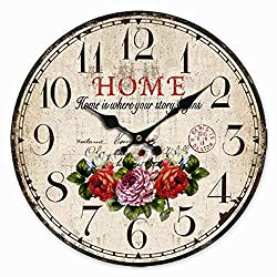 NUTK Wooden Wall Clocks, 14 inch Flower Decorative Silent Round Home Decor Clock Non-Ticking,Vintage/Country/French Style