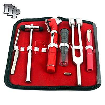 Ddp Led Fiber Optic Otoscope Tuning Fork C128 Reflex Hammer Diagnostic Ent Set-red