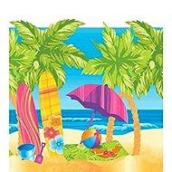 "Surf's Up Table Cover Hawaiian Summer Beach Party Reusable Tableware, Plastic, 54"" x 102"""