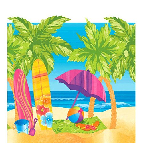 Luau Tableware (Surf's Up Table Cover Hawaiian Summer Beach Party Reusable Tableware, Plastic, 54