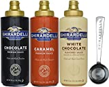 Ghirardelli - 16 oz Chocolate, 17 oz White Chocolate Flavored, 17 oz Caramel Sauce Squeeze Bottle - Set of 3 - with Limited Edition Measuring Spoon
