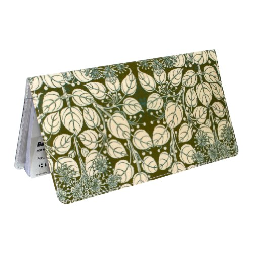 Green Floral Checkbook Cover