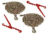 """5/16"""" x 20' G70 Tie Down Chain and 5/16"""" - 3/8"""" G70 Lever Chain Binders (4pc Set)"""