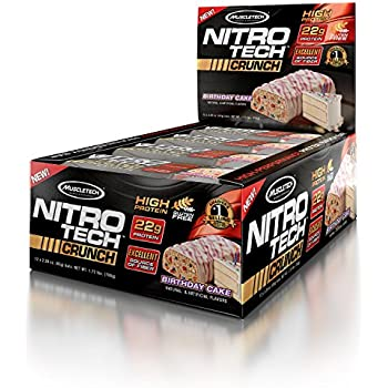 MuscleTech NitroTech Crunch Protein BarBirthday Cake 22 Grams 5 Of Fiber 240 Calories Low Carb Gluten Free 65g Bars 12 Count