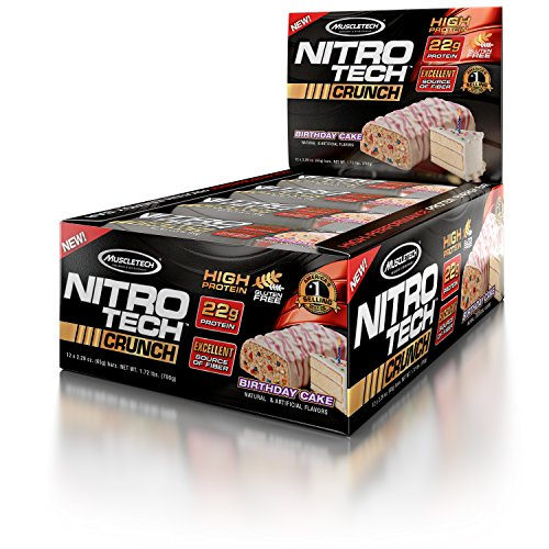 MuscleTech NitroTech Crunch Protein Bar,Birthday Cake, 22 Grams Protein, 5 Grams of Fiber, 240 Calories, Low Carb, Gluten Free, 65g Bars, 12 (65g Bar)