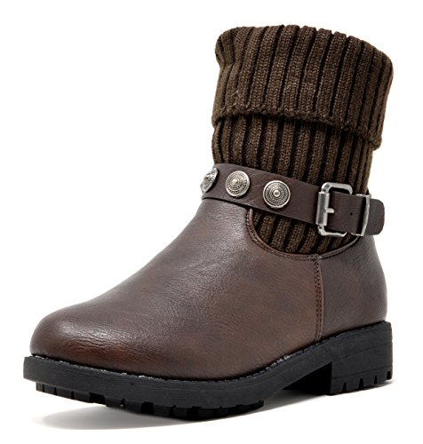 DREAM PAIRS Girls Big Kid Motto-K Brown Mid Calf Winter Boots Size 4 M US Big -