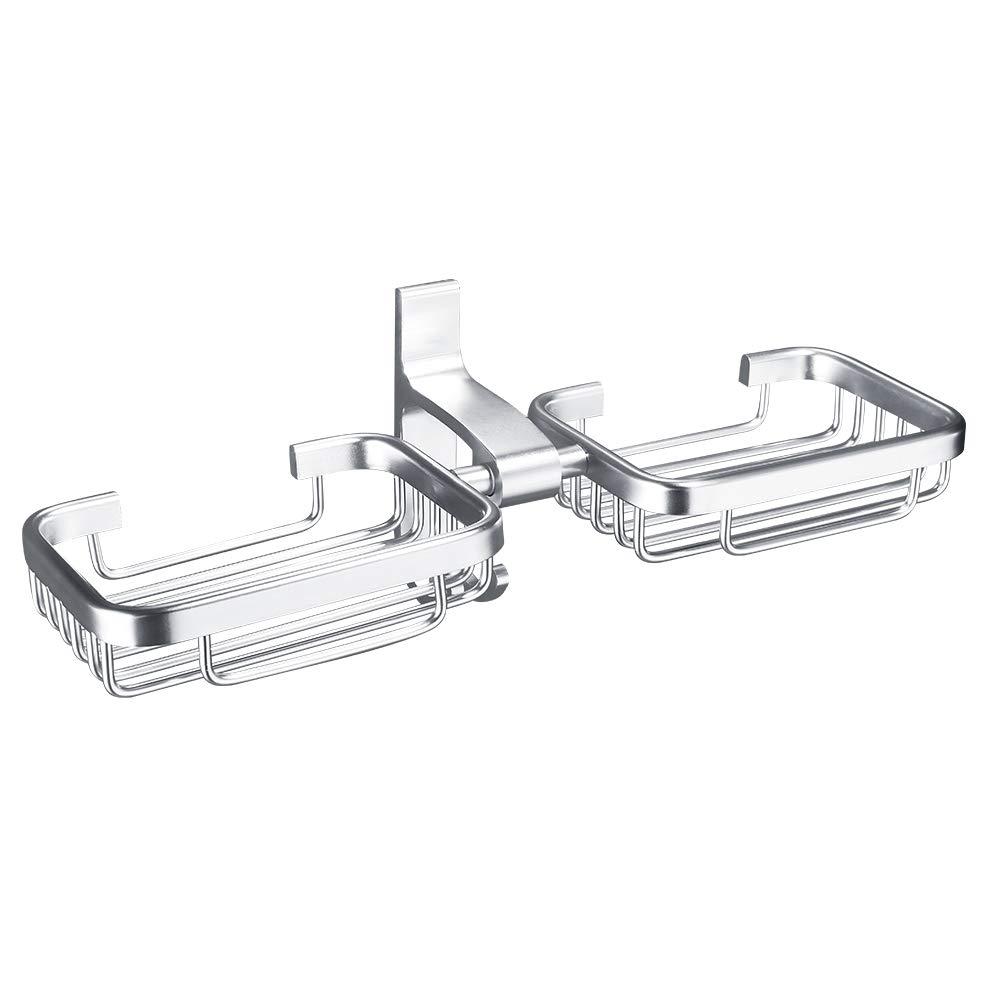 Weehey Soporte para jabonera 2 Capas Dispensadores de Ducha para ba/ño montados en la Pared Espacio Aluminio Organizador de Almacenamiento de jab/ón Colgador en Rack