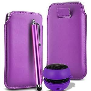 Direct-2-Your-Door - Samsung Galaxy S2 i9100 Superior PU suave tirón del cuero del tirón Tab estuche de transporte, Stylus y Mini altavoz recargable - luz púrpura