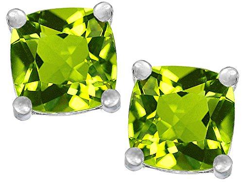 Star K Sterling Silver Cushion-Cut 7mm Earrings Studs