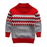 Boy Children Turtleneck Christmas Sweaters Boy Pullover Clothing 5-9T red 8