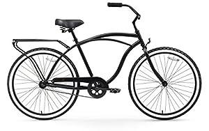 "sixthreezero Around The Block Men's Single Speed Cruiser Bicycle, Matte Black w/ Black Seat/Grips, 26"" Wheels/19"" Frame"