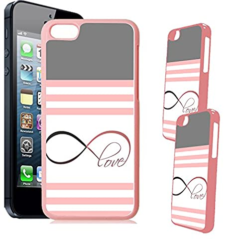 [TeleSkins] - iPhone 5C Designer Pink Plastic Case - Pink & White With Infinity Love Ultra Durable HARD PLASTIC Protective Snap On Back Case / Cover for iPhone (5c Of Mice And Men Case)