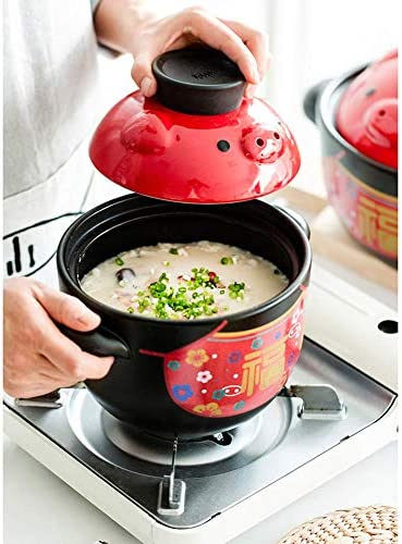 LEILEI Casserole en céramique de Porc Chinois avec Couvercle,Pot d'argile Pot de ragoût Soupe Pot Chaud ménage gaz Oreille poignée marmite Noir 1.58Quart