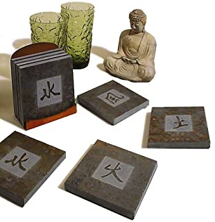 """product image for American-Made Kanji Symbols Natural Slate Coasters Set -""""Earth, Wind, Fire, Water"""", Set of 4"""