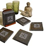 "Kanji Symbols Natural Slate Coasters Set - ""Earth, Wind, Fire, Water"", Set of 4"
