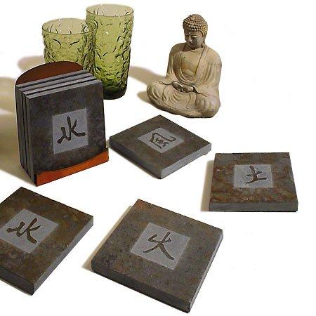 Symbol Kanji - American-Made Kanji Symbols Natural Slate Coasters Set -