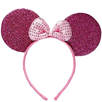 Sparkly Mouse Ears with Bow on Headband// Aliceband.Hair Accessory-Bright Pink by Inca