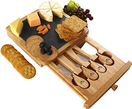 Utopia Kitchen Cheese Board and Knife Set - 5-Piece Set Includes Cheese Slate, 4 Stainless Steel Cheese Knives, Removable Slide-Out Drawer - Natural Oak Cheese/Cracker Platter - Ideal Present Set
