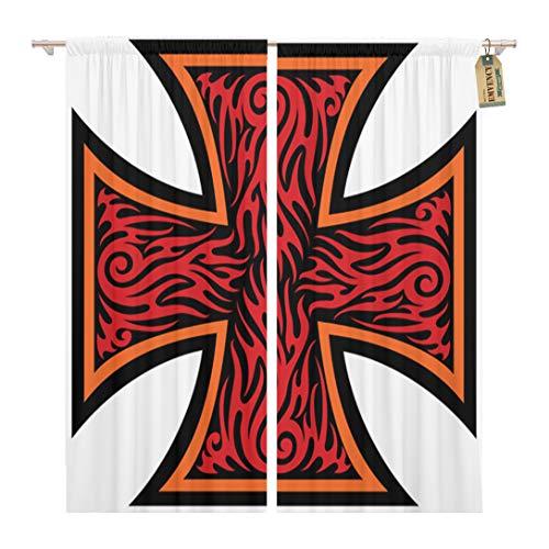 Golee Window Curtain Maltese Iron Cross in Tribal Tattoo Celtic Catholic Christian Home Decor Rod Pocket Drapes 2 Panels Curtain 104 x 63 inches