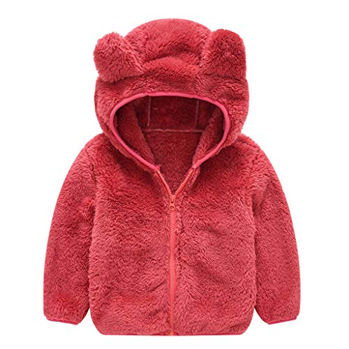 Differences Between Halloween And Christmas (Baby Boy Girl Cute Ear Hoodie Cashmere Cardigan Coat Winter Thick Warm Plush Sweater Outerwear Kids Fleece Jacket (Red, 12-18)